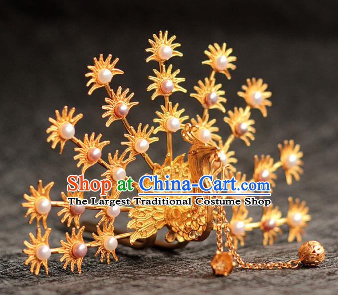 China Ancient Empress Pearls Hair Crown Traditional Hair Accessories Ming Dynasty Golden Phoenix Hairpin