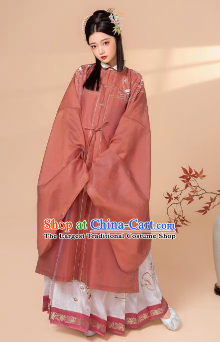 China Traditional Ming Dynasty Royal Princess Embroidered Costumes Ancient Nobility Lady Historical Clothing Full Set