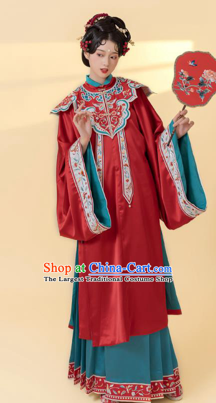 China Traditional Ming Dynasty Noble Woman Historical Costumes Ancient Imperial Concubine Embroidered Hanfu Clothing