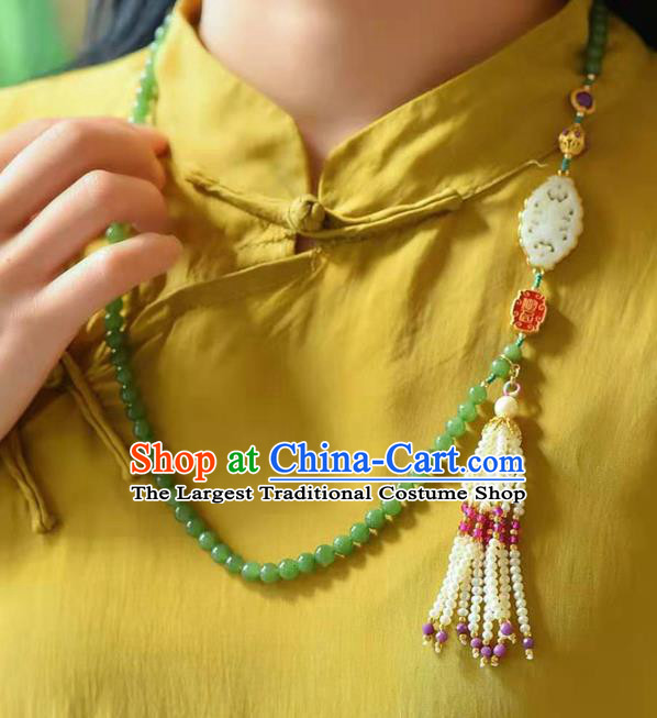 Chinese Classical Pearls Tassel Necklace Pendant National Handmade Jade Beads Necklet Jewelry Accessories