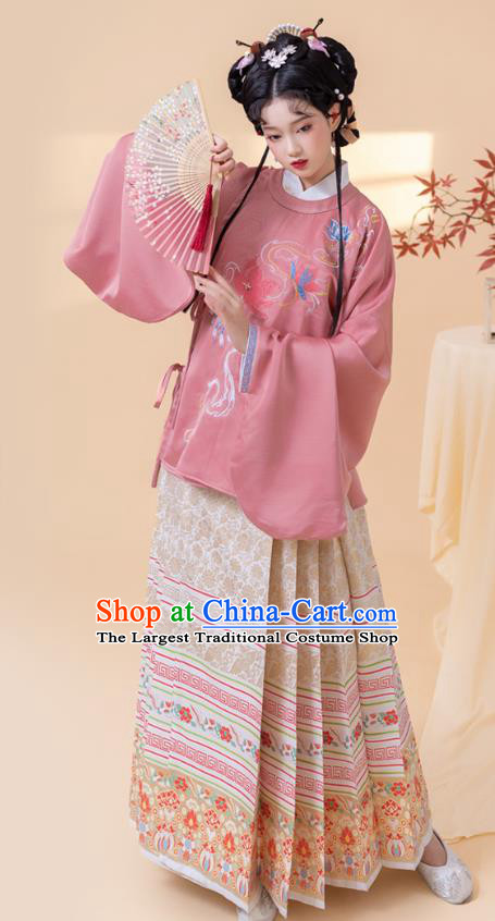 China Ancient Noble Beauty Embroidered Hanfu Clothing Traditional Ming Dynasty Palace Princess Historical Costumes