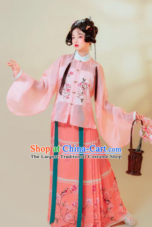 Traditional China Ming Dynasty Young Lady Historical Clothing Ancient Patrician Female Costumes Full Set