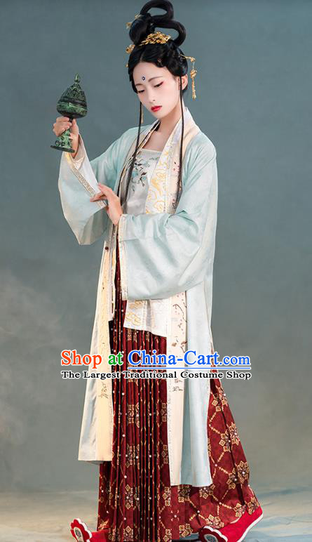 China Ancient Palace Lady Hanfu Costume Traditional Song Dynasty Court Princess Historical Clothing