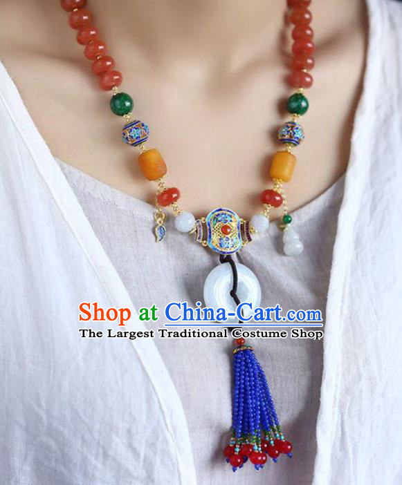Chinese Classical Agate Necklet Pendant Handmade Jade Accessories National Blue Beads Tassel Necklace