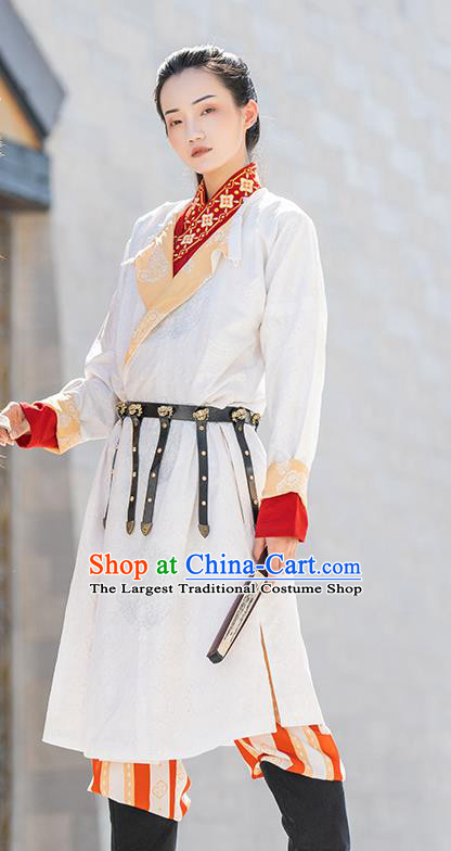 China Ancient Female Swordsman Embroidered Hanfu Dress Traditional Tang Dynasty Civilian Lady Historical Clothing