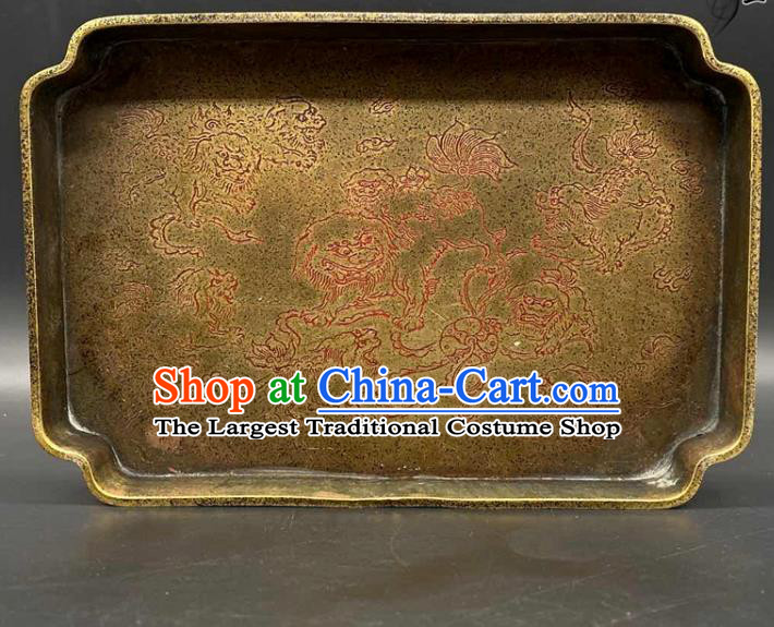 Handmade Chinese Carving Lion Tray Ornaments Traditional Brass Salver Accessories