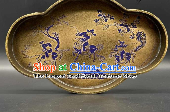 Handmade Chinese Traditional Brass Salver Accessories Lacquer Painting Tray Ornaments