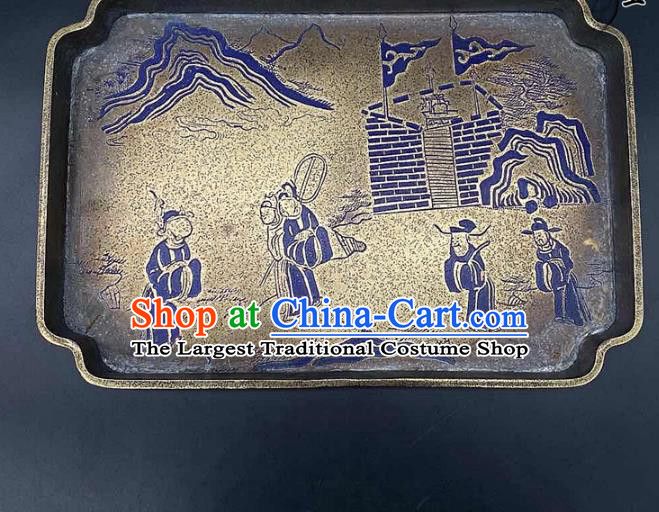 Handmade Chinese Lacquer Painting Tray Ornaments Traditional Brass Salver Accessories Teaboard