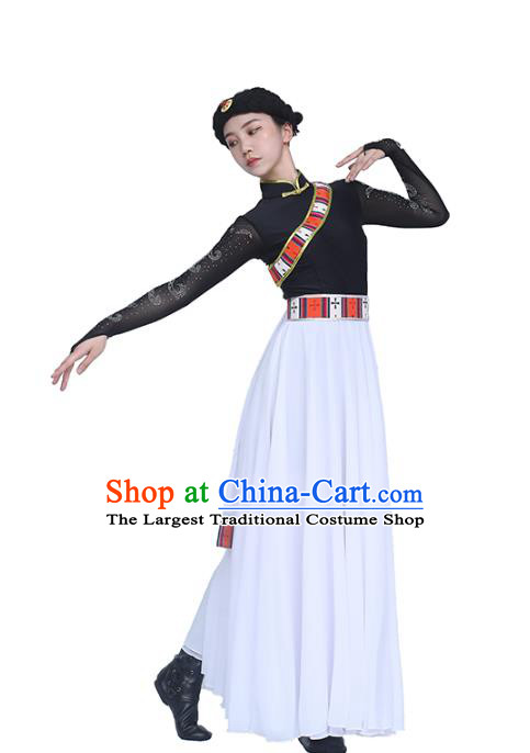 China Traditional Zang Nationality Folk Dance Clothing Tibetan Ethnic Black Blouse and White Skirt Outfits