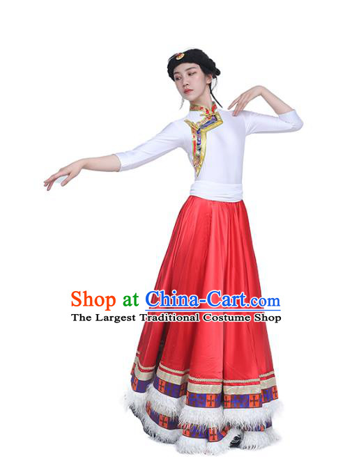 China Traditional Zang Nationality Dance Clothing Tibetan Ethnic White Blouse and Red Skirt Outfits