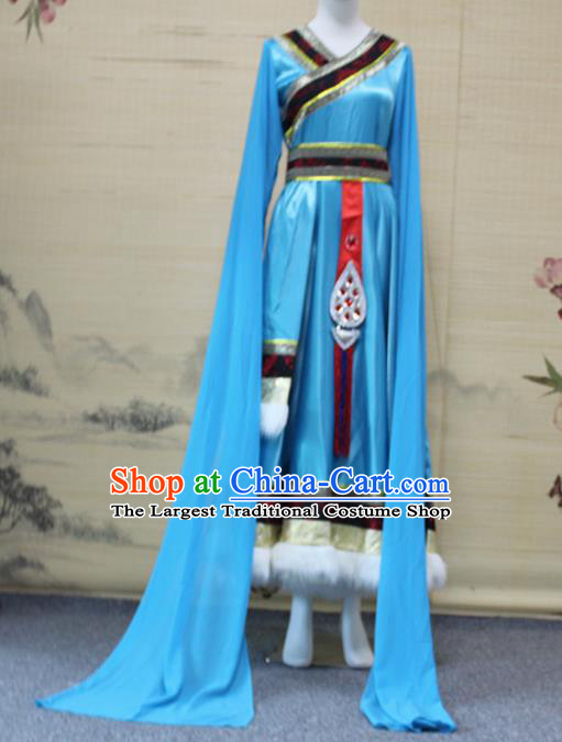 China Traditional Zang Nationality Folk Dance Clothing Tibetan Ethnic Women Dance Blue Robe