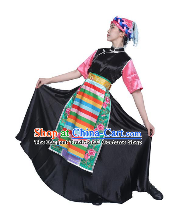 China Traditional Zang Nationality Dance Clothing Tibetan Ethnic Folk Dance Black Dress Outfits