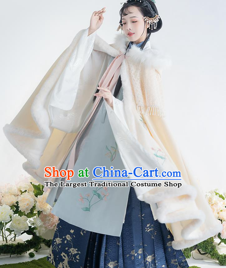 China Ancient Patrician Female Embroidered Hanfu Cloak Traditional Ming Dynasty Nobility Lady Historical Clothing