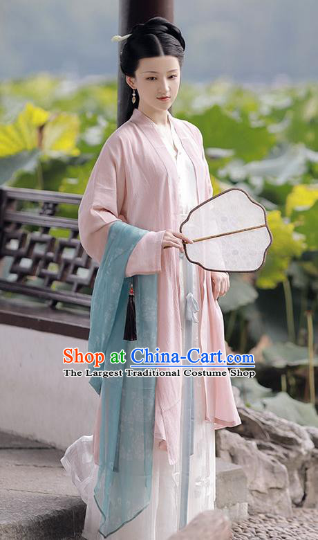 China Ancient Young Mistress Hanfu Costumes Traditional Song Dynasty Beauty Historical Clothing Complete Set