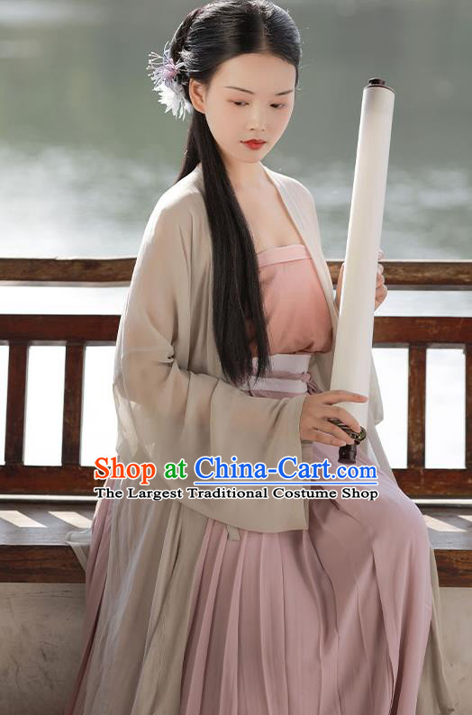 China Ancient Country Woman Hanfu Costumes Traditional Song Dynasty Young Lady Historical Clothing Full Set