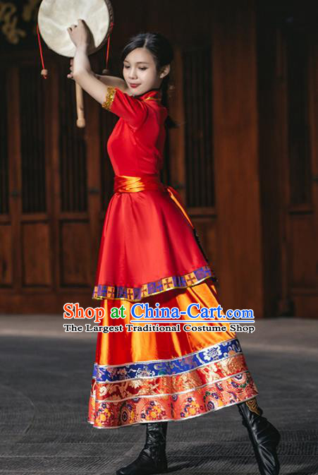 China Zang Ethnic Women Folk Dance Red Dress Outfits Traditional Tibetan Nationality Wedding Clothing