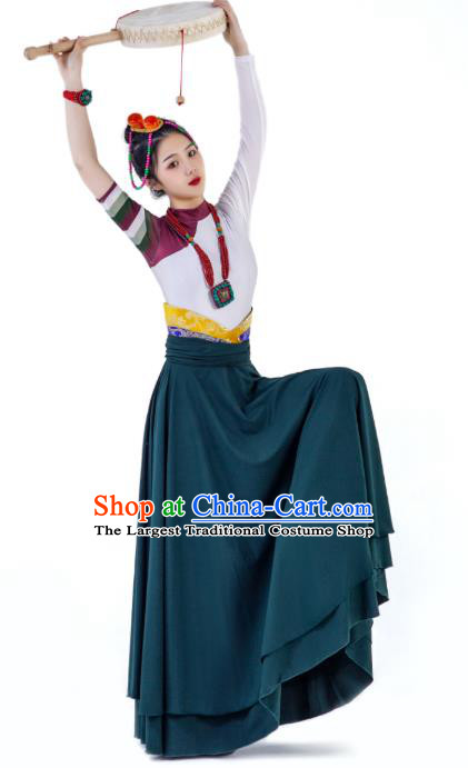 China Traditional Zang Nationality Folk Dance Clothing Tibetan Ethnic Women Dance Robe Outfits
