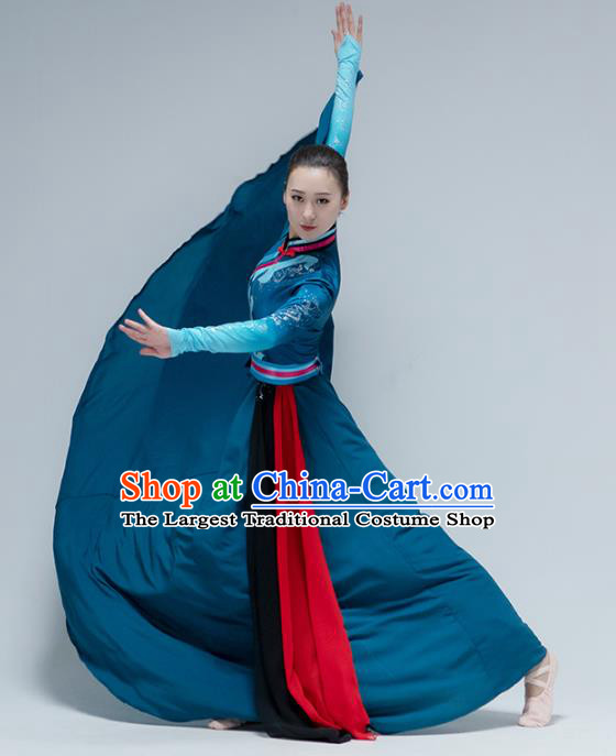 China Mongol Nationality Folk Dance Deep Blue Dress Traditional Mongolian Ethnic Dance Stage Performance Clothing