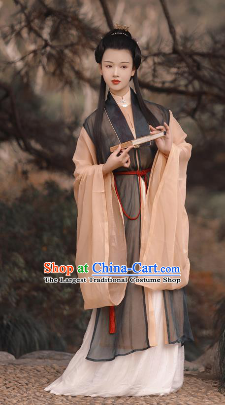 China Traditional Hanfu Dress Ming Dynasty Patrician Beauty Historical Costume Ancient Taoist Nun Clothing