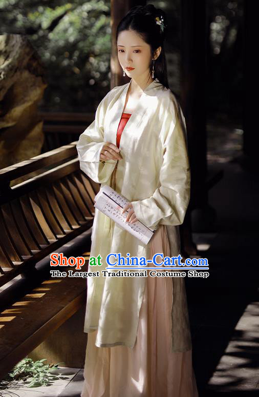 China Song Dynasty Patrician Beauty Historical Costume Traditional Hanfu Dress Ancient Young Lady Clothing