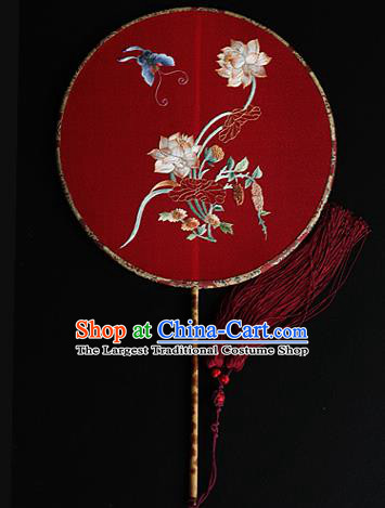 China Ancient Bride Red Silk Fan Handmade Embroidered Lotus Circular Fans Traditional Wedding Hanfu Palace Fan