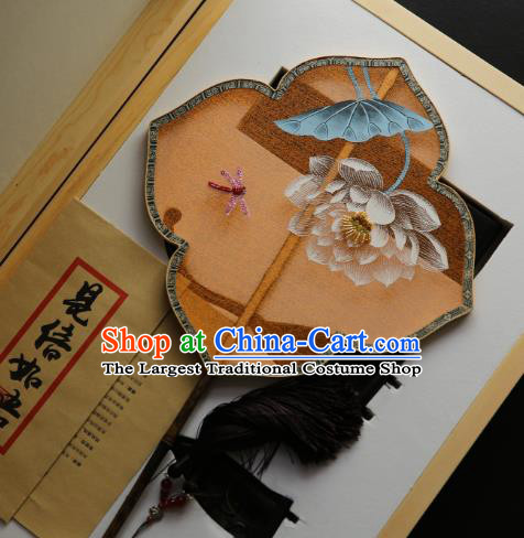 China Painting Lotus Orange Silk Fan Traditional Hanfu Palace Fan Handmade Ebony Fans