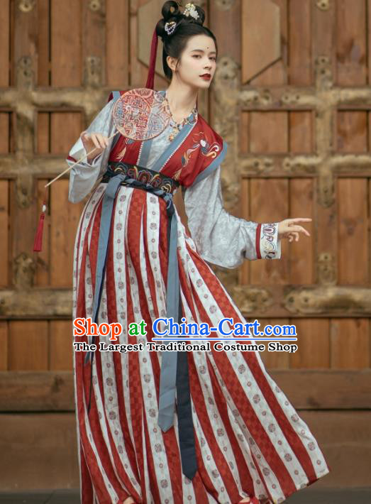 Traditional China Ancient Palace Lady Embroidered Red Hanfu Dress Tang Dynasty Young Beauty Historical Clothing