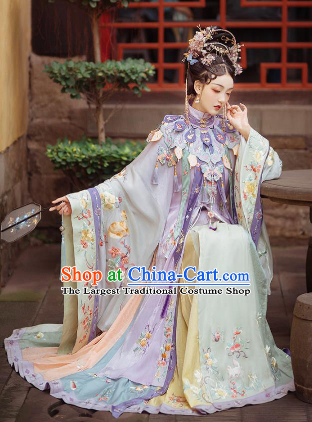 China Ancient Imperial Consort Embroidered Hanfu Costumes Traditional Ming Dynasty Palace Woman Historical Clothing