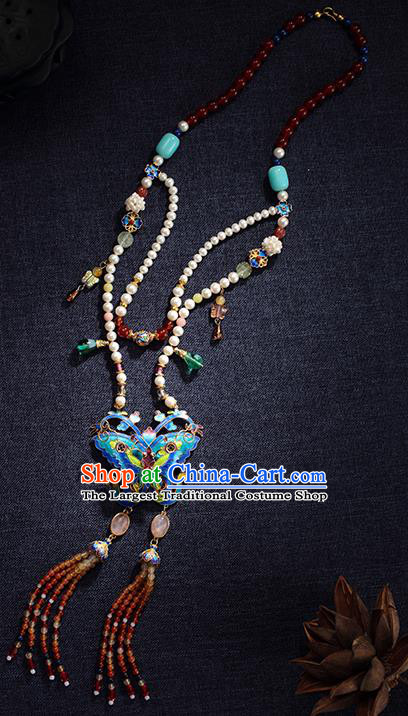 China Traditional Blueing Butterfly Necklace Jewelry Accessories Ming Dynasty Beads Tassel Necklet Pendant
