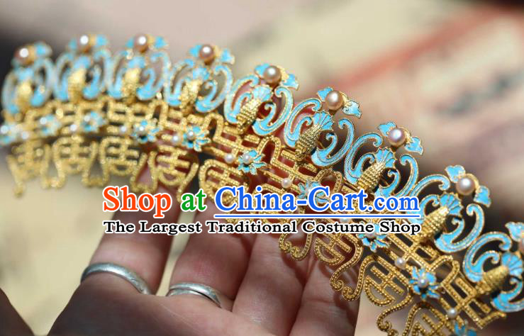 Chinese Ancient Empress Cloisonne Phoenix Hair Crown Handmade Hair Accessories Traditional Ming Dynasty Pearls Hairpin