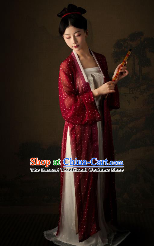 China Traditional Song Dynasty Young Lady Historical Costumes Ancient Village Woman Hanfu Apparels Clothing