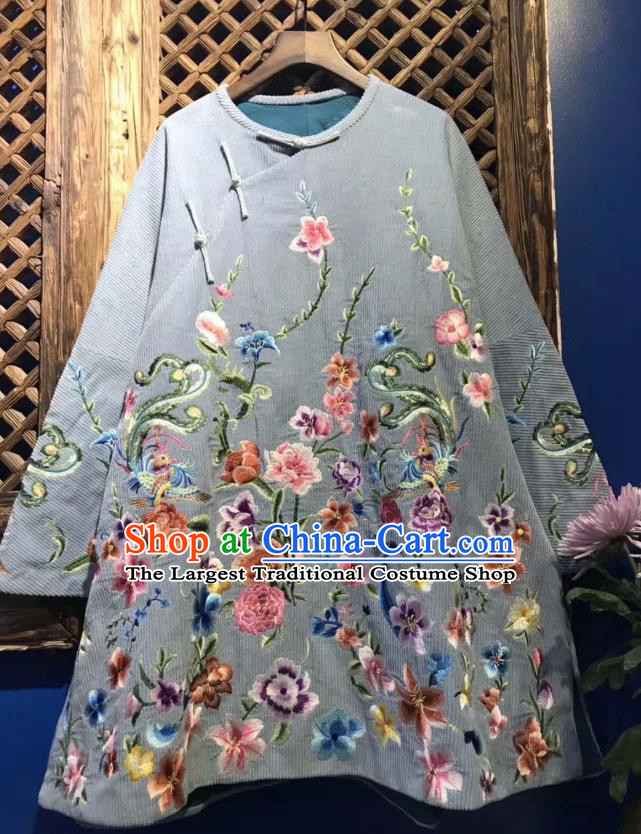 China Traditional Blue Coat Embroidered Flowers Cotton Padded Jacket National Tang Suit Upper Outer Garment