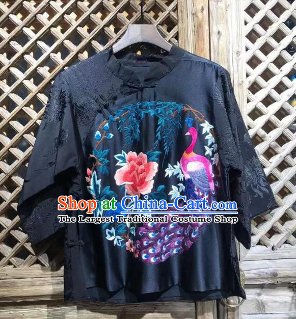 China National Tang Suit Blouse Upper Outer Garment Traditional Embroidered Peony Peacock Navy Silk Shirt
