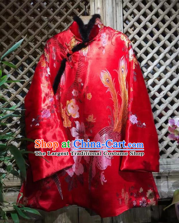 China Traditional Phoenix Peony Pattern Jacket National Tang Suit Outer Garment Red Silk Cotton Wadded Coat
