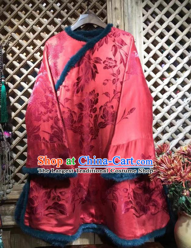 China Traditional Flowers Pattern Jacket National Tang Suit Outer Garment Red Silk Cotton Wadded Coat