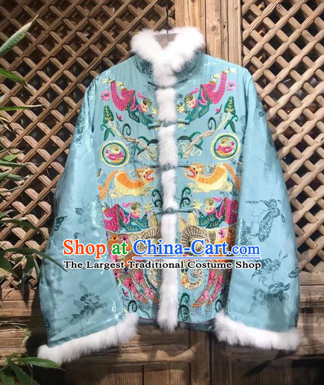 China National Outer Garment Tang Suit Blue Silk Coat Traditional Embroidered Cotton Padded Jacket