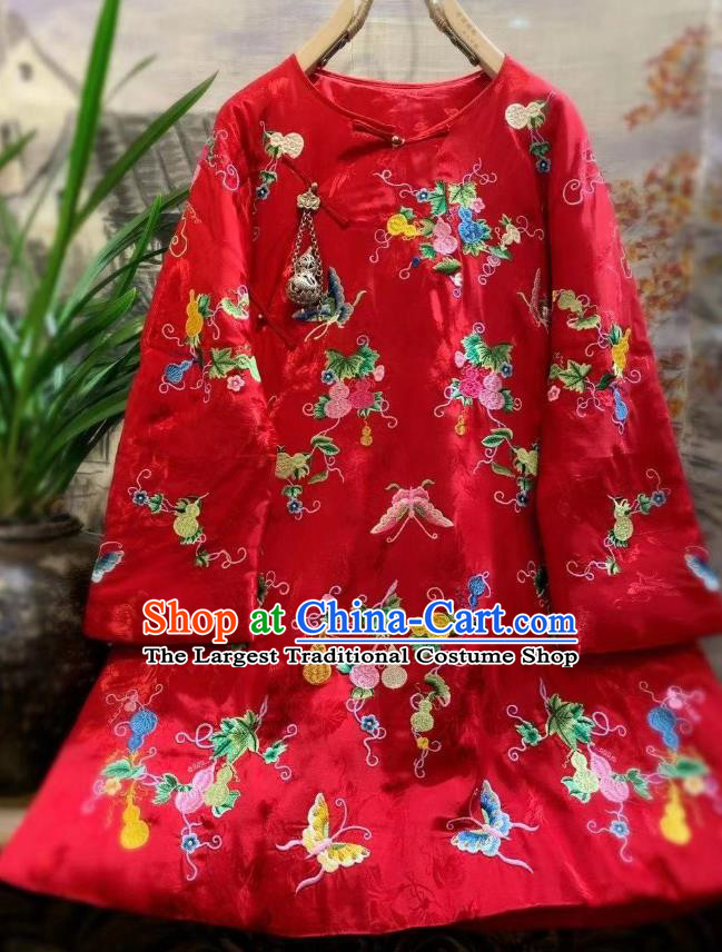 China Traditional Embroidered Butterfly Jacket National Outer Garment Tang Suit Red Satin Cotton Padded Coat