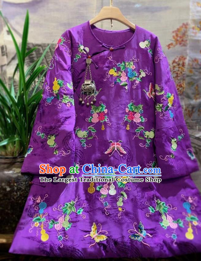 China Traditional Embroidered Butterfly Purple Silk Jacket National Outer Garment Tang Suit Cotton Padded Coat