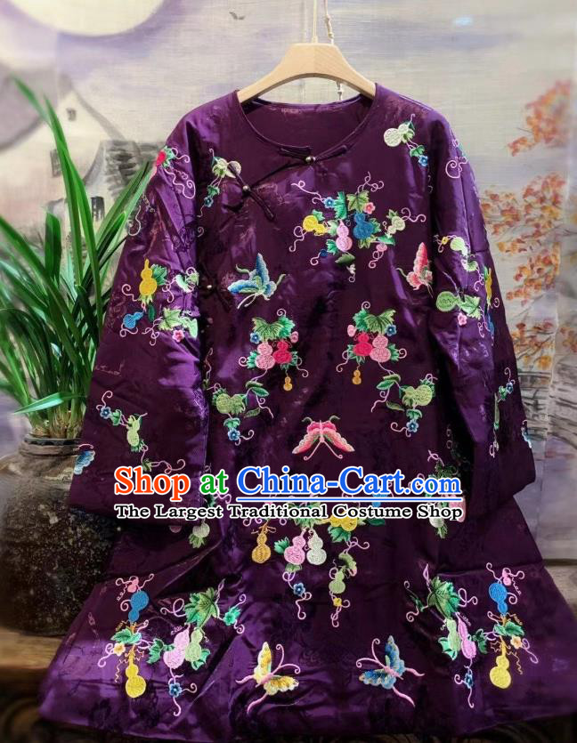 China Tang Suit Cotton Padded Coat Traditional Embroidered Butterfly Deep Purple Silk Jacket National Outer Garment