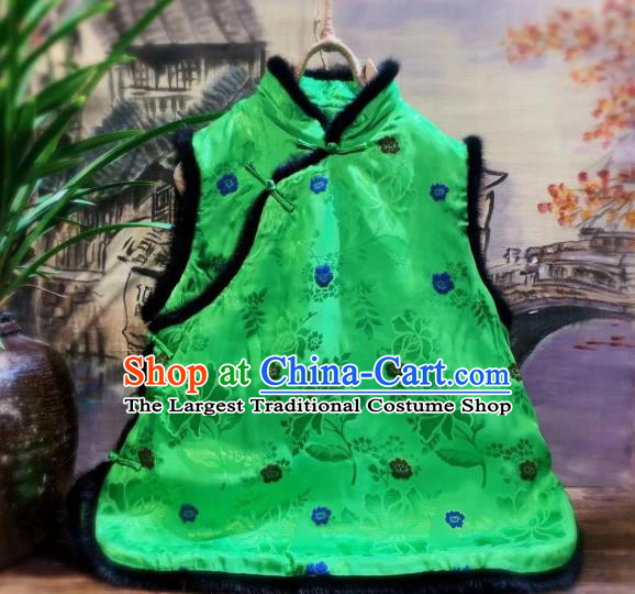 China Women Upper Outer Garment Clothing Tang Suit Green Silk Waistcoat National Winter Vest