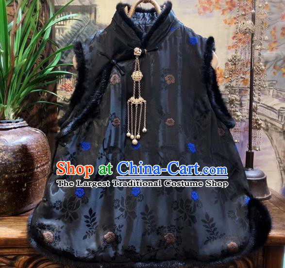 China Tang Suit Black Silk Waistcoat National Winter Vest Women Upper Outer Garment Clothing