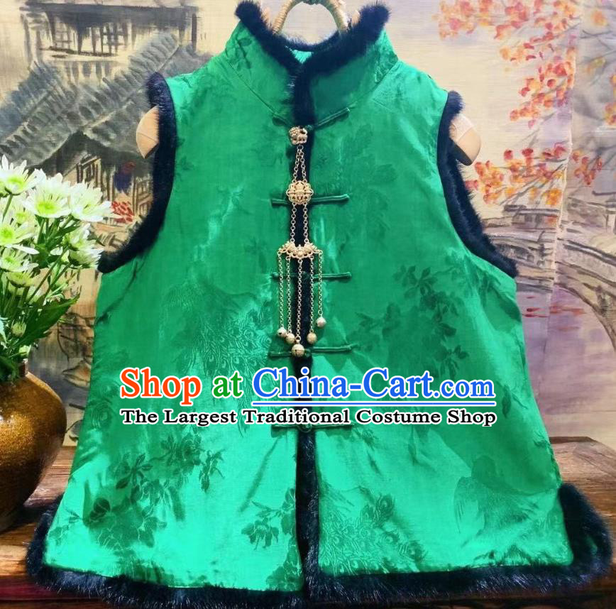 China National Women Upper Outer Garment Winter Clothing Peacock Pattern Silk Vest Tang Suit Green Waistcoat