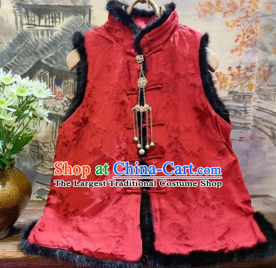 China Goldfish Pattern Silk Vest Tang Suit Red Waistcoat National Women Upper Outer Garment Winter Clothing