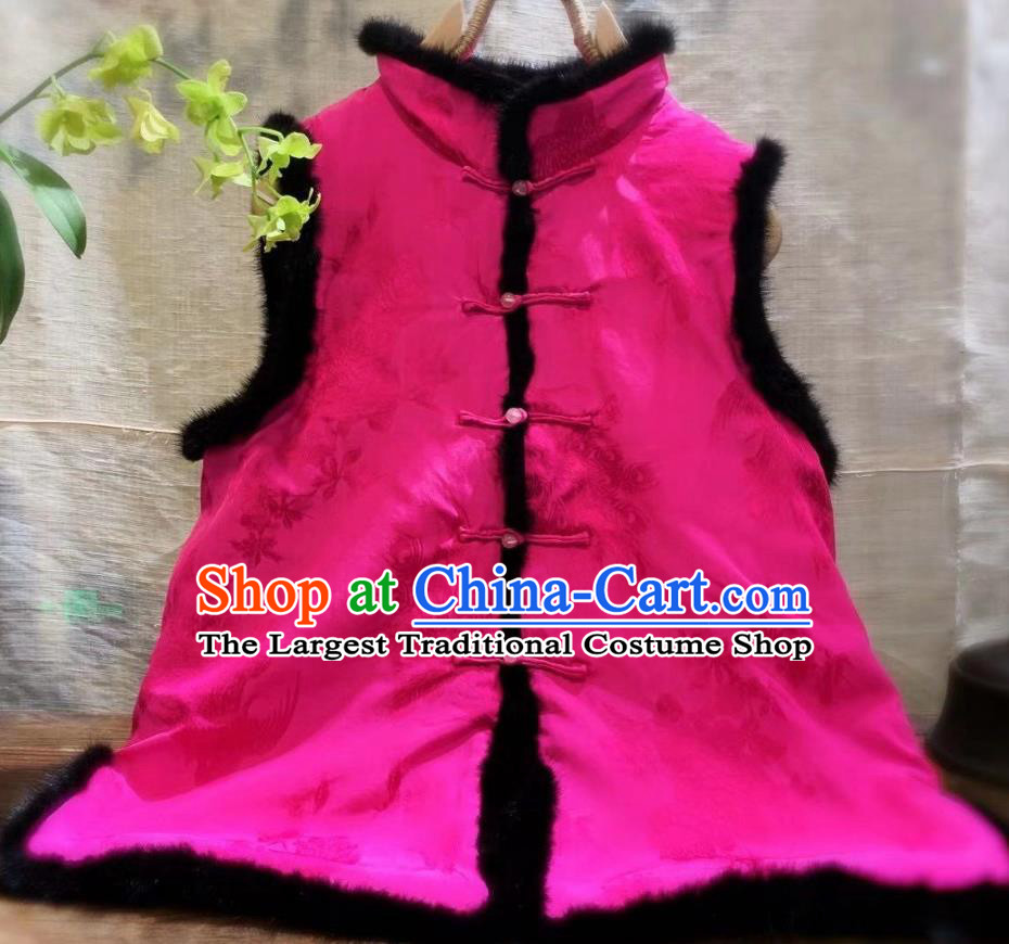 China National Women Upper Outer Garment Winter Clothing Peacock Pattern Silk Vest Tang Suit Rosy Waistcoat