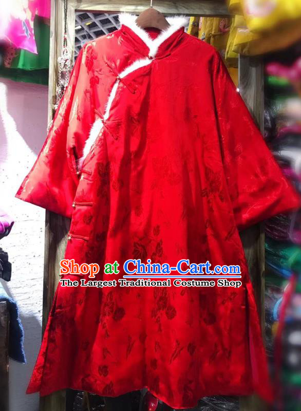 China Traditional Silk Jacket National Outer Garment Tang Suit Red Cotton Padded Coat