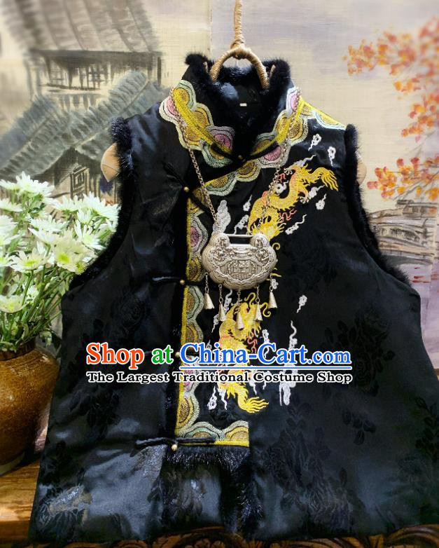 China National Upper Outer Garment Clothing Embroidered Dragon Black Vest Tang Suit Silk Waistcoat