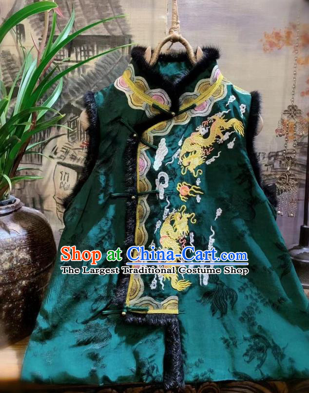 China Tang Suit Silk Waistcoat National Upper Outer Garment Clothing Embroidered Dragon Green Vest