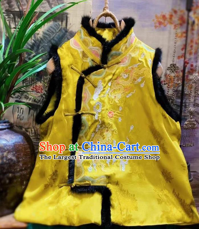 China Embroidered Dragon Golden Vest Tang Suit Silk Waistcoat National Upper Outer Garment Clothing