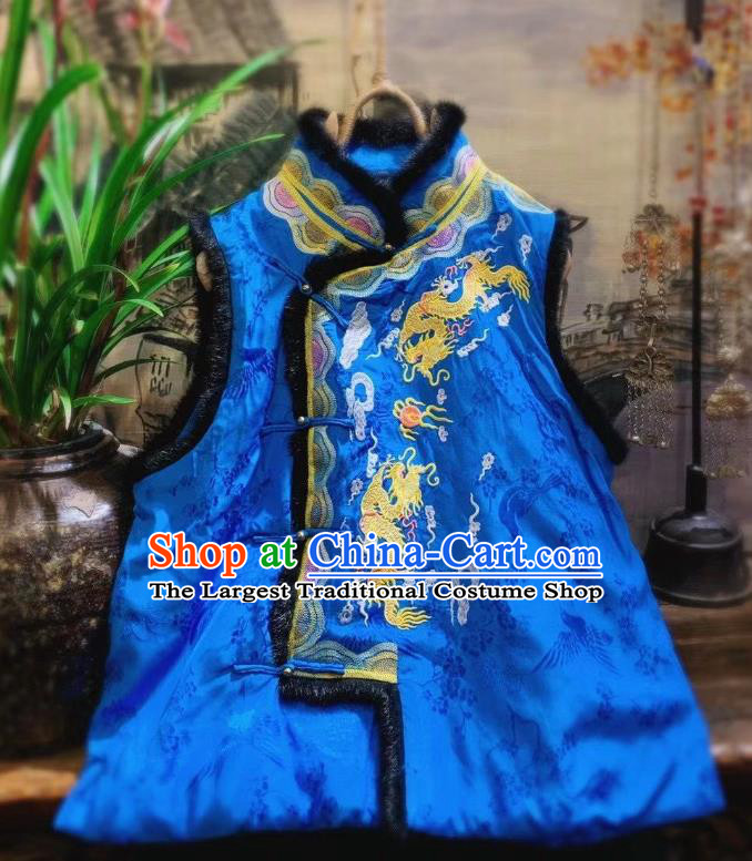China National Upper Outer Garment Clothing Embroidered Dragon Royalblue Vest Tang Suit Silk Waistcoat