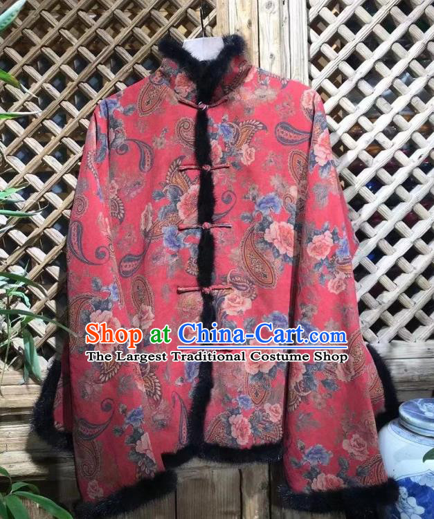 China Tang Suit Cotton Padded Coat National New Year Outer Garment Traditional Flowers Pattern Red Jacket